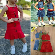 Baby Girl Summer Sleeveless Button Vest Outfit Tops+Skirt Kids Clothes 2PCS Set