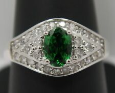 STUNNING 14K White Gold ~ GREEN (TSAVORITE) GARNET & DIAMOND Band Ring ~ QUALITY