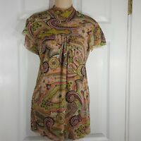 SWEET PEA by Stacy Frati  Sz Small Short Sleeve Mock Neck Nylon Womens Shirt Top
