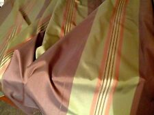 *** 2. 5 meters SILK ***** Horizontal stripe brown green gold Fabric