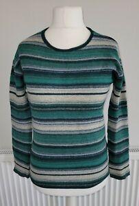 Seasalt Womens Green Stripe Wool Nylon Blend Fruity Jumper - UK Size 8/10.