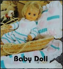 Knitting Pattern Copy DOLLS CLOTHES PREM BABY DUNGAREES SWEATER Tiny Tears Doll
