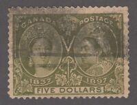 "Canada Scott #65  $5.00 olive green  ""Diamond Jubilee""  F"