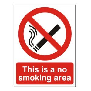 This Is A No Smoking Area Sign 450mm x 600mm Rigid Plastic (PRS-01B)