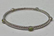 "Judith Ripka Sterling Silver Green Citrine Stackable Bangle Bracelet 8"" (15.6G)"