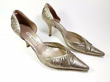 Pedro Miralles Gold Leather Mid Heel Shoes UK 7 Eu 40