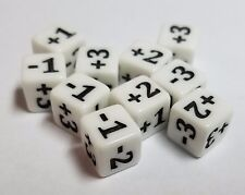 10x White Micro Dice +1, +2, +3, -1, -2 & -3 Great for Counters and Stats in MTG