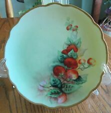 Eggers 1910 Austria Porcelain handpainted strawberries gold green red plate 8""