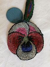 Vintage Beaded Handbag Wrist Bag Pansy Flower Pattern With Mirror Collectable