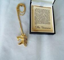 24k Electroplated Joanne Jewels Vintage! Unicorn Rhinestone Gold Tone Necklace