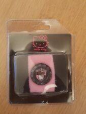 Hello Kitty Girls Digital Watch In Terry Towelling Sweatband Strap Pink & Black