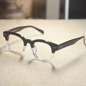 Blackcrystal Retro italy acetate mens eyeglasses Rectangular vintage RX glasses