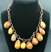 Vintage 1940s Necklace Celluloid Chain Real Acorns Metal Clasp RARE Statement