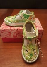 BRAND NEW Lelli Kelly beaded embroidered flower girls shoe size Green US 6 EU 22