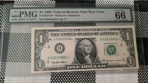 1999 $1 US  Federal Reserve Note  Star  PMG 66 GEM UNC