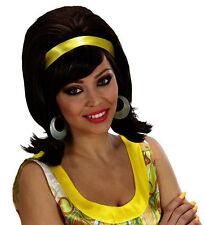 Señoras 50s 60s 70s Marrón Mod Peluca Rock Roll Fancy Dress Hippy Groovy Girl Colmena