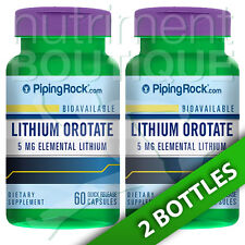 Lithium Orotate 5 mg 2X60 caps Piping Rock