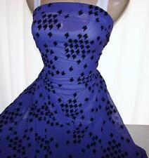 By The Yard Chiffon Fabric Purple w/Black Flocked Houndstooth Design New