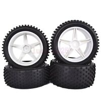 4PCS RC 1:10 Off-Road Buggy Car Front&Rear Tyre Tire&white Wheel Rim 66006-66026