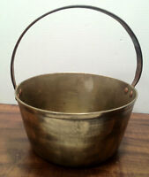Antique Brass Kettle w/ Fixed Cast Iron Handle