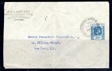 MAURITIUS 1945 PORT LOUIS TO NEW YORK ARRIVAL CANCEL ON