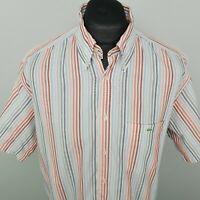 Lacoste Mens Vintage Shirt 43 XL Short Sleeve White Regular Fit Striped Cotton