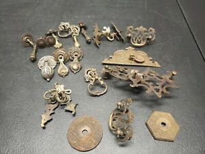 Vintage  Dresser Drawer Brass/ Steel Teardrop Pulls misc. Lot Cabinet