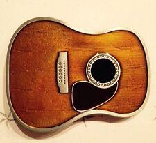 Classic Guitar Belt Buckle Wood Enamel Color Music