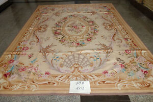 Vintage Beautiful Floral French Country Stunning Hand Crafted Aubusson Rug Wool