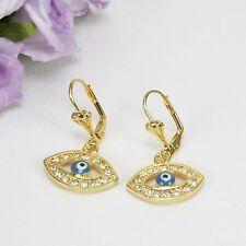 E10 18K Gold Filled Leverback Evil Eye Crystal and Enamel Earrings in Gift Box