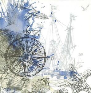 P074# 3x Single Paper Napkins Decoupage Vintage Marine Collage Seagull Sailboat