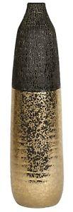 Floor Standing Ceramic Narrow Mouth Flower Vase Black & Gold Bullet Vase 49cm