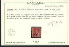 1851 TOSCANA 1 GRAZIA CARMINIO SU GRIGIO SASSONE 4d USATO (U) CERTIFICATO