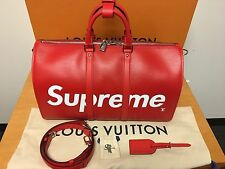 Louis Vuitton Supreme KEEPALL 45 in RED EPI LEATHER 100% New and Authentic