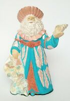 "Vintage Ceramic Santa Claus with Sack of Sea Shells 9.5"" Tall"