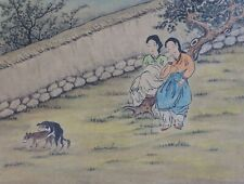 Very Fine Korean MinHwa Folk Hand Painting 2 Women Watching 2 Dogs