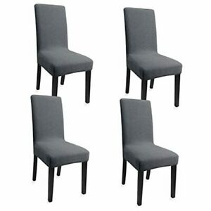 DiningChair Slipcovers Set of 4 Washable Dining Chair Covers Dark Grey,4pcs