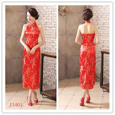 red Chinese women's silk/satin evening dress long Cheongsam 6 -16