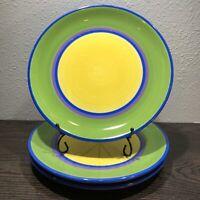 "3 DANSK Caribe Aruba HandPainted 10 3/4"" Dinner Plates With *Glaze Crazing*"