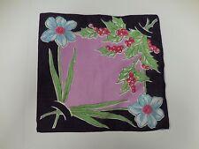 Vintage Hankie Holly Amaryllis Floral Design Hard to Find COLLECTOR