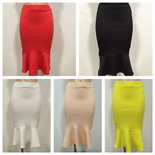 Unbranded Knee Length Patternless Fishtail Skirts for Women