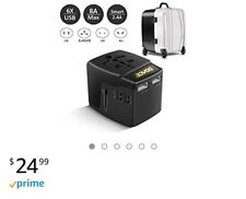 LeadTry A6 Universal Travel Power Adapter 8A with 6 USB Charging Ports, E... New