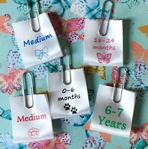 Size Labels for Clothing - Satin Garment Labels/Tags - Personalised