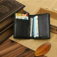 Small RFID Real Leather Wallet Men's Credit Card Holder Case Coin Purse Black