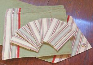 SET Table Runner 6 Reversible Placemats, 6 Napkins Handmade New Sage,Red Stripe/