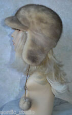 """Russian GENUINE MINK real FUR HAT with EARS and POMPOMS, Palomino Beige, 21"""""""