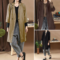 ZANZEA UK Womens Casual Loose Long Sleeve Cotton Trench Coat  Cardigan Overcoat