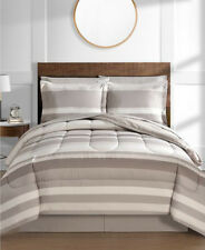 Tan Khaki Brown Stripe Boys Reversible Queen Comforter Set (8 Pc Bed in A Bag)