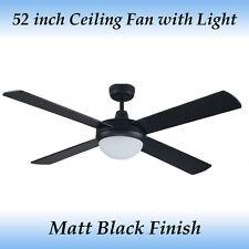 Fias Genesis 52 inch 4 Blade Matt Black Ceiling Fan with Light