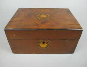 Good antique Victorian Inlaid Wood / Marquetry Jewellery Box / Tea Caddy